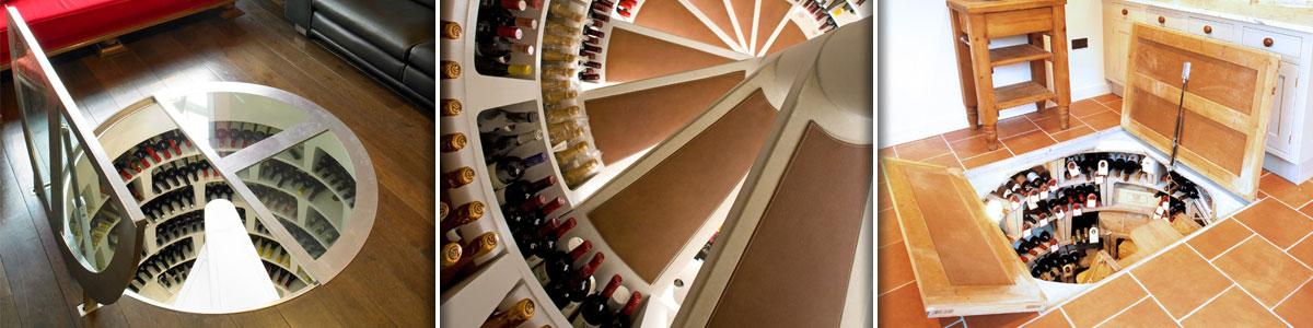 spiral wine cellar. spiral staircase to bottle wine cellar. the
